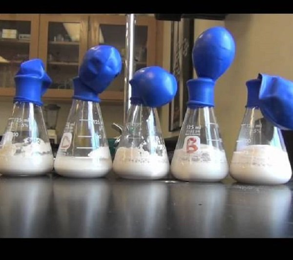 test tubes and balloons